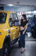 女销售为出业绩色诱顾客 车前摆出各种姿势