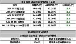 车载中秋节 奥迪A6L享现金最高优惠6万元