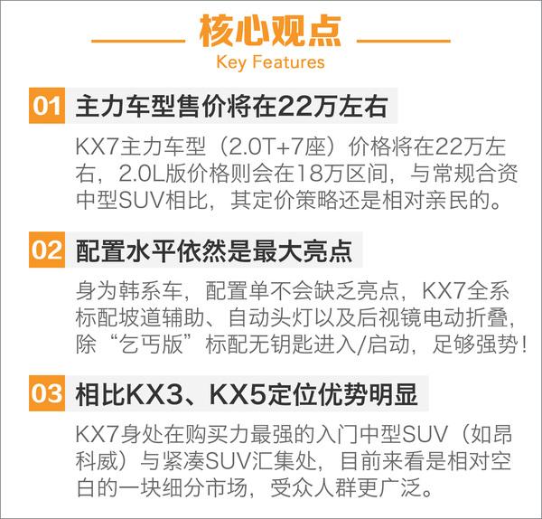 错位竞争奇骏/CR-V 起亚KX7竞争对手分析