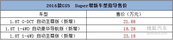 2016款GS5 Super增新车型售价
