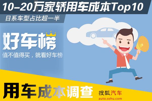 10-20万家轿用车成本Top10