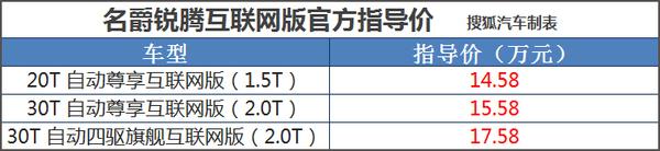 售价14.58-17.58万 名爵锐腾互联网版上市