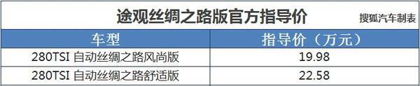 途观丝绸之路版上市 售价19.98-22.58万元