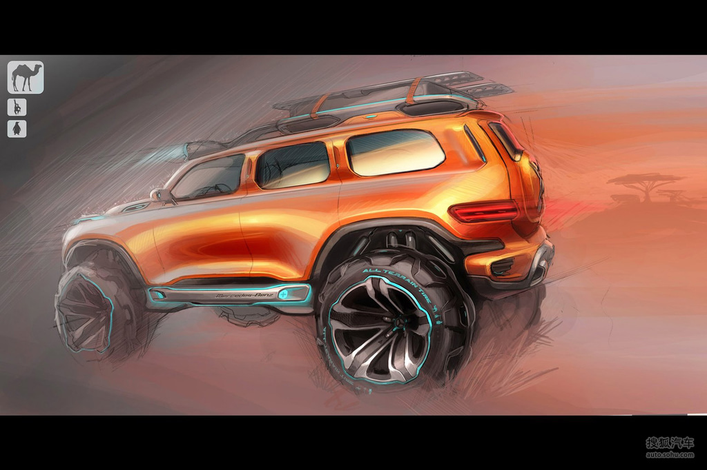 """这是一台充满未来色彩的SUV概念车,这款Ener-G Force概念车是2012年洛杉矶车展设计挑战赛作品之一,来自梅赛德斯-奔驰北美研发公司加州先进设计中心。今年的大赛设计主题是""""Highway Patrol Vehicle 2025""""(2025年公路巡逻车)。 2025年,执法人员必须适应道路更加拥挤、交通实现电子监控、人口大幅增长和人类行为发生的变化。作为最环保的SUV,奔驰Ener-G-Force可以满足这些要求,并帮助全球各地的警察执行公务。新车以经典的奔驰G级为设计基础,这款标志性越野车于"""